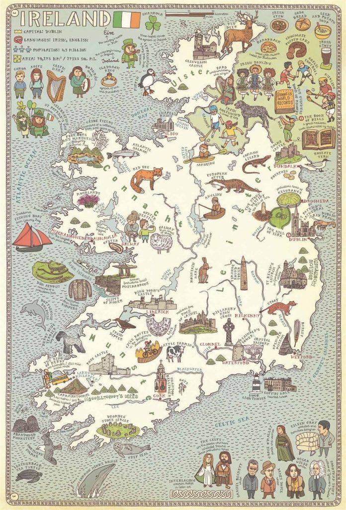 Irish map from Maps book by Aleksandra Mizielinska and Daniel Mizielinski